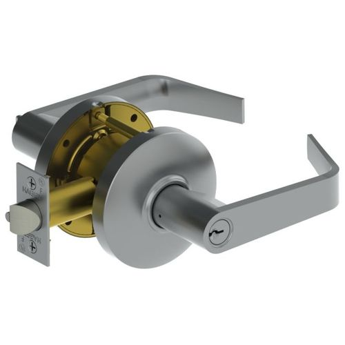 Hager 3400 Series Heavy Gauge Steel//Zinc Grade 1 Cylindrical Passage Lock ASA Strike 2-3//4 Backset Satin Chrome Finish August Lever Style
