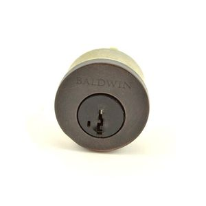 Baldwin Reserve 8BR0204007 Single Cylinder Deadbolt Cylinder Kwikset Smartkey with Housing and 2 Keys Dark Bronze Finish