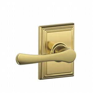 Schlage Residential F10 VLA 605 ADD Avila Lever with Addison Rose Passage Lock with 16080 Latch and 10027 Strike Bright Brass Finish