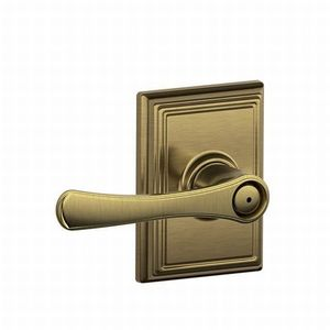 Schlage Residential F40 VLA 609 ADD Avila Lever with Addison Rose Privacy Lock with 16080 Latch and 10027 Strike Antique Brass Finish