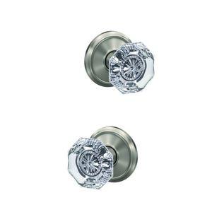 Schlage Custom FC172ALX619ALD Alexandria Knob with Alden Rose Non Turning Dummy Lock Satin Nickel Finish