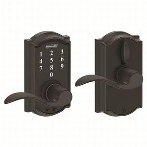 Schlage Residential FE695 CAM622ACC Camelot with Accent Lever Keyless Touch Lever Lock with 16211 Latch and 10063 Strike Matte Black Finish