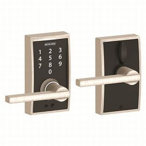 Schlage Residential FE695 CEN619LAT Century with Latitude Lever Keyless Touch Lever Lock with 16211 Latch and 10063 Strike Satin Nickel Finish
