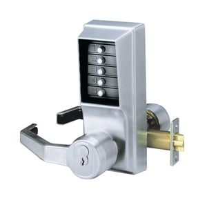 "Simplex LL1021S26D Left Hand Mechanical Pushbutton Lever Lock with Key Override, Schlage Prep and 2-3/4"" Backset Satin Chrome Finish"