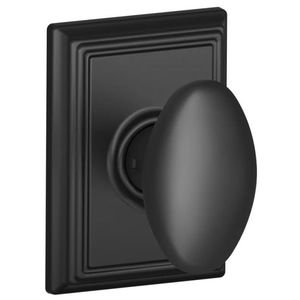 Schlage Residential F10 SIE 622 ADD Siena Knob with Addison Rose Passage Lock with 16080 Latch and 10027 Strike Matte Black Finish