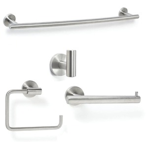 Amerock ARRONDISS7 Bathroom Kit with BH26540SS Tissue Roll Holder BH26541SS Towel Ring BH26544SS Towel Bar BH26542SS Robe Hook Stainless Steel Finish