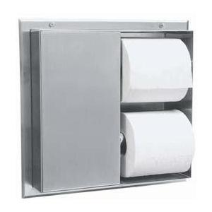 Bobrick B386 B-386 Partition-Mounted Multi-Roll Toilet Tissue Dispenser, Satin Stainless Steel
