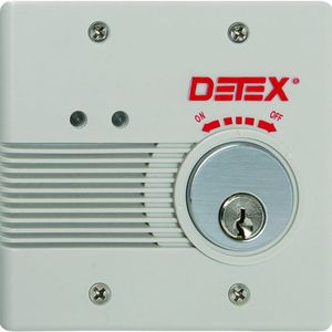 DETEX EAX2500SKMC65 Surface Mount AC / DC Powered Alarm Kit with Mortise Cylinder Gray Finish