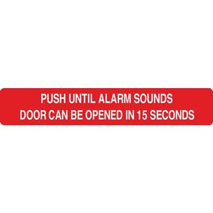 English 15 Second Red Delayed Egress Peel and Stick Door Signage Chart