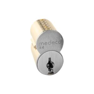 Medeco Security Locks 3370000626DVBS 7 Pin Small Format Interchangeable Core with DVB Keyway with Clip Retainer and Removable Front Plate Satin Chrome Finish