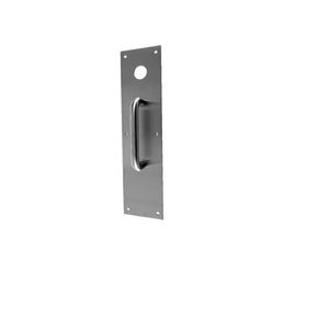 """Don Jo CFK7115606 4"""" x 16"""" Push Plate with 15 Pull Cut for Knob Satin Brass Finish"""