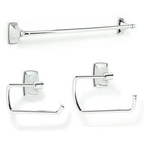 Amerock CLARENDON262 Bathroom Kit with BH2650026 Tissue Roll Holder BH2650126 Towel Ring BH2650426 Towel Bar Bright Chrome Finish