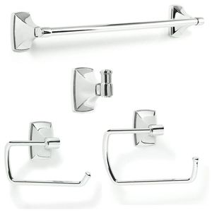 Amerock CLARENDON263 Bathroom Kit with BH2650026 Tissue Roll Holder BH2650126 Towel Ring BH2650326 Towel Bar BH2650226 Robe Hook Bright Chrome Finish