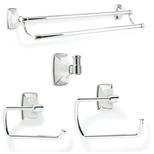 Amerock CLARENDON265 Bathroom Kit with BH2650026 Tissue Roll Holder BH2650126 Towel Ring BH2650526 Double Towel Bar BH2650226 Robe Hook Bright Chrome Finish