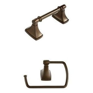 Amerock CLARENDONCBZ6 Bathroom Kit with BH26500CBZ Tissue Roll Holder BH26501CBZ Towel Ring Caramel Bronze Finish