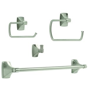 Amerock CLARENDONG103 Bathroom Kit with BH26500G10 Tissue Roll Holder BH26501G10 Towel Ring BH26503G10 Towel Bar BH26502G10 Robe Hook Satin Nickel Finish
