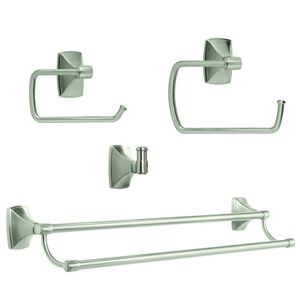 Amerock CLARENDONG105 Bathroom Kit with BH26500G10 Tissue Roll Holder BH26501G10 Towel Ring BH26505G10 Double Towel Bar BH26502G10 Robe Hook Satin Nickel Finish
