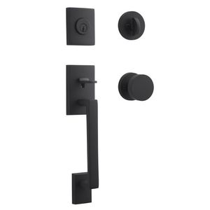 Baldwin Reserve SCLAJXCONCRR190 Single Cylinder La Jolla Handleset Contemporary Knob Contemporary Round Rose with 6AL Latch and Dual Strike Satin Black Finish