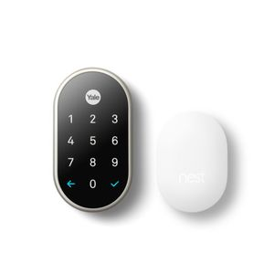 Yale Real Living RBYRD540WV619 Nest x Yale Weave Lock Bundled with Nest Connect Satin Nickel Finish