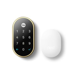 Yale Real Living RBYRD540WV605 Nest x Yale Weave Lock Bundled with Nest Connect Bright Brass Finish