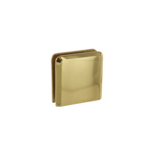 Polished Brass Beveled Style Notch-in-Glass Fixed Panel U-Clamp