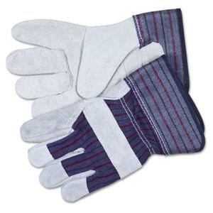 MCR Safety CRW12010M Split Leather Palm Gloves, Medium, Gray, Pair
