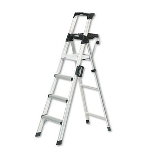 Cosco CSC2061AABLD Signature Series Aluminum Folding Step Ladder w/Leg Lock & Handle, 6 ft, 4-Step