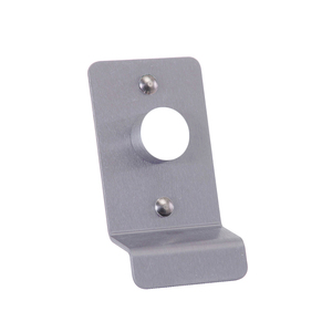 Key Retract Latch Pull Plate with Cylinder Hole Aluminum Finish