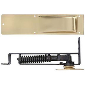 Bommer 7801-632 Light Duty Horizontal Double Acting Spring Pivot with Floor Plate Bright Brass Finish