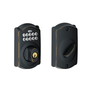 Schlage Residential BE365 CAM 716 Camelot Electronic Keypad Deadbolt C Keyway with 12287 Latch and 10116 Strike Aged Bronze Finish