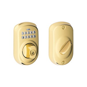 Schlage Residential BE365 PLY 505 Plymouth Electronic Keypad Deadbolt C Keyway with 12287 Latch and 10116 Strike Lifetime Brass Finish