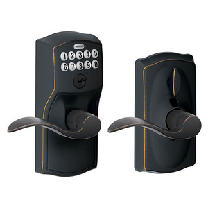 Schlage Residential FE595 CAM716GEO Camelot with Georgian Knob Entry Flex Lock Electronic Keypad with 16211 Latch and 10063 Strike Aged Bronze Finish