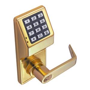 Alarm Lock DL2700 US3 DL2700 Series Trilogy T2 Cylindrical Electronic Digital Lock, Bright Polished Brass