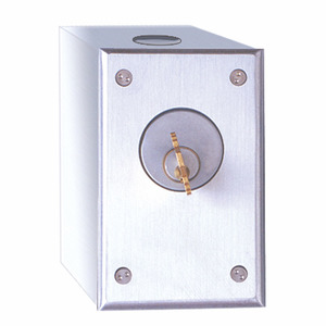 Camden CM-1020 Cast Aluminum Key Switch, Single Gang with Surface Mount Box, SPDT Momentary