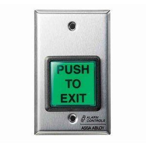 """Alarm Controls TS-2 2"""""""" Green Square Button, """"""""PUSH TO EXIT"""""""", SPDT Momentary, Single Gang, Satin Stainless Steel"""