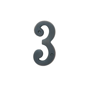 Better Home Products 483ORB 4 Inches Height Solid Brass House Number Number 3 Oil Rubbed Bronze