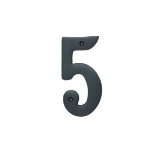 Better Home Products 485ORB 4 Inches Height Solid Brass House Number Number 5 Oil Rubbed Bronze