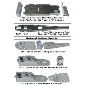 International Door Closers D220-S-DP International 220 Light Concealed Overhead Closer Kit - S Arm 105 HO