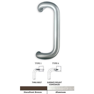 "International Door Closers PH-4000-9-AL-T-1 International 9"" Solid Aluminum Offset Pull Handle For Storefront Door Anodized Dull Aluminum"