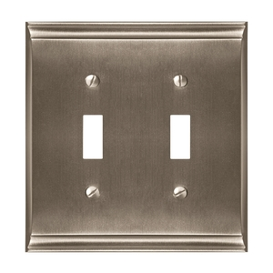 """4-9/10"""" x 4-7/10"""" Candler Double Toggle Wall Plate Satin Nickel Finish"""