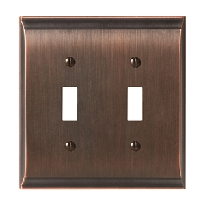 "Amerock BP36501ORB 4-9/10"" x 4-7/10"" Candler Double Toggle Wall Plate Oil Rubbed Bronze Finish"