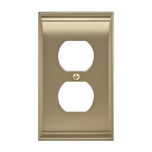 "Amerock BP36508BBZ 11-3/5"" x 6-3/10"" Candler Single Outlet Wall Plate Golden Champagne Finish"