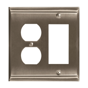 "8-3/10"" x 6-3/10"" Candler Outlet and Rocker Wall Plate Satin Nickel Finish"