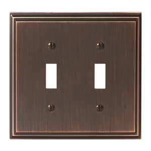 """8-3/10"""" x 6-3/10"""" Mulholland Double Toggle Wall Plate Oil Rubbed Bronze Finish"""