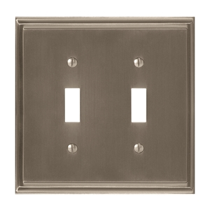 "7-3/10"" x 4-3/4"" Mulholland Double Toggle Wall Plate Satin Nickel Finish"