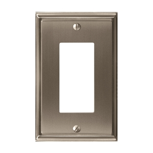 "8-3/10"" x 6-3/10"" Mulholland Single Rocker Wall Plate Satin Nickel Finish"