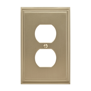 "Amerock BP36522BBZ 8-3/10"" x 6-3/10"" Mulholland Single Outlet Wall Plate Golden Champagne Finish"