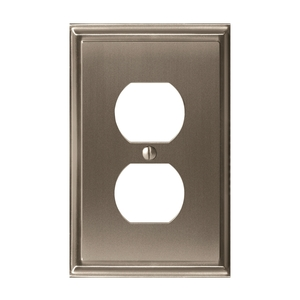 """Amerock BP36522G10 8-3/10"""" x 6-3/10"""" Mulholland Single Outlet Wall Plate Satin Nickel Finish"""