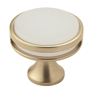 "Amerock BP36608BBZFA 1-3/8"" (35 mm) Diameter Frosted Acrylic Oberon Cabinet Knob Golden Champagne Finish"