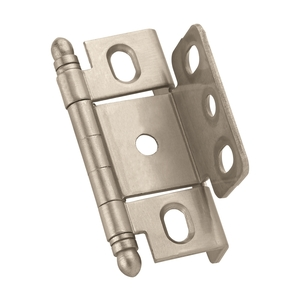 "Amerock PK3175TBG10 3/4"" (19 mm) Full Inset Full Wrap Ball Tip Cabinet Hinge Satin Nickel Finish"